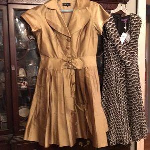 Ricky Freeman for TeriJohn Golden silk dress 10